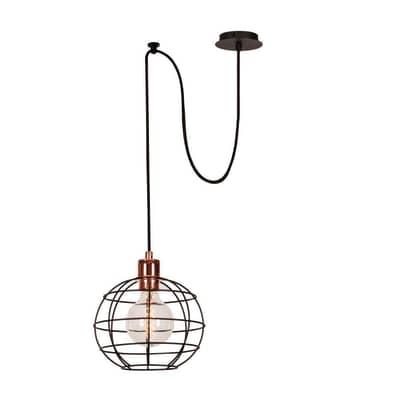 Lampadario Design Wire rame, nero in rame, D. 100 cm, L. 113 cm
