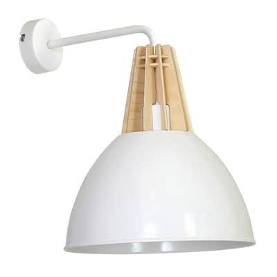 Applique Virgo bianco, in legno, 24 cm, E27 MAX60W IP30