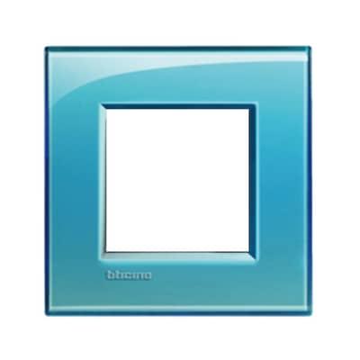 Placca BTICINO Living light 2 moduli azzurro opaco