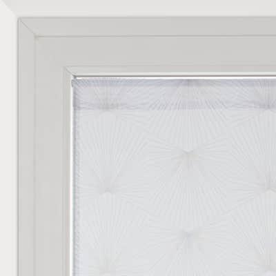 Tendina vetro Kita bianco e grigio occhielli 45 x 120 cm