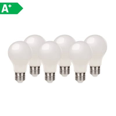 Lampadina LED E27 goccia bianco caldo 8.5W = 806LM (equiv 60W) 220° LEXMAN, 6 pezzi