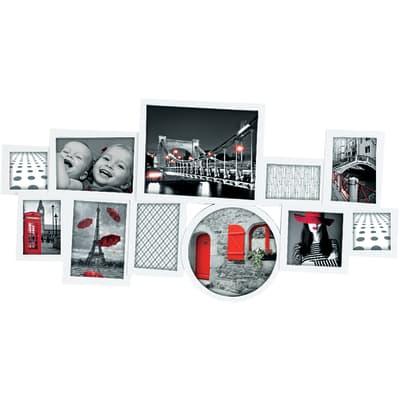 Cornice Round & square per 11 fotografie 10 x 15 bianco