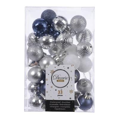 Sfera natalizia in plastica confezione da 33 pezzi