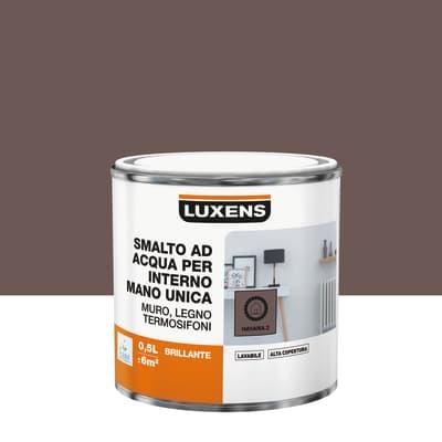 Smalto LUXENS base acqua marrone cioccolato 5 lucido 0.5 L