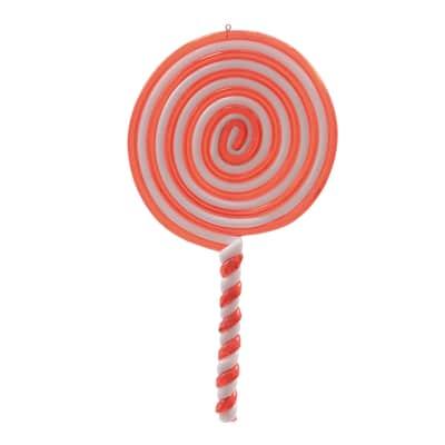 Lecca lecca in plastica rosso e bianco , L 10 cm x P 0.8 cm