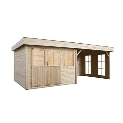Casetta da giardino in legno 4 stagioni,  superficie interna 7.45 m² e spessore parete 28 mm