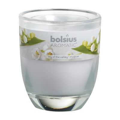 Candela profumata BOLSIUS essenza mughetto H 8 cm