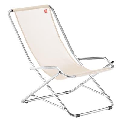 Sedia a sdraio pieghevole Swing in alluminio naturale