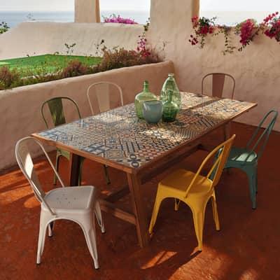 Set tavolo e sedie Soho con piano in ceramica, struttura in acacia multicolore 6 posti