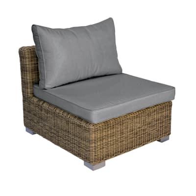 Poltrona da giardino con cuscino  in rattan sintetico Antigua colore grigio antracite
