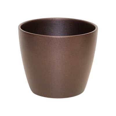 Portavaso Spring ALMAS S.A. in ceramica colore bronzo H 10 cm, Ø 12 cm