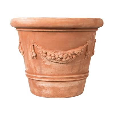 Vaso Festonato bordato in terracotta colore cotto H 66 cm, L 80 x P 80 cm