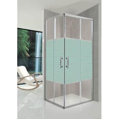 Box doccia rettangolare 80 x 100 cm, H 190 cm in vetro temprato, spessore 5 mm serigrafato argento