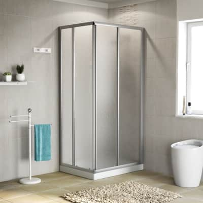 Box doccia scorrevole 80 x 90 cm, H 185 cm in alluminio e vetro, spessore 4 mm granigliato argento