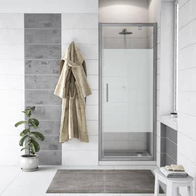 Porta doccia battente Quad 70 cm, H 190 cm in vetro, spessore 6 mm serigrafato cromato