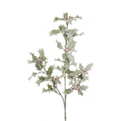 Decorazione per albero di natale Ramo di agrigoglio con bacche in pvc  H 62 cm, x P 10 cm,