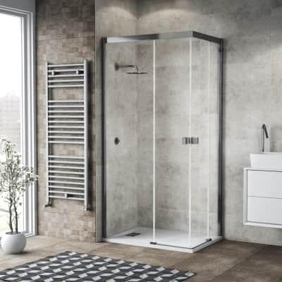 Box doccia scorrevole 70 x 90 cm, H 200 cm in vetro, spessore 6 mm trasparente cromato