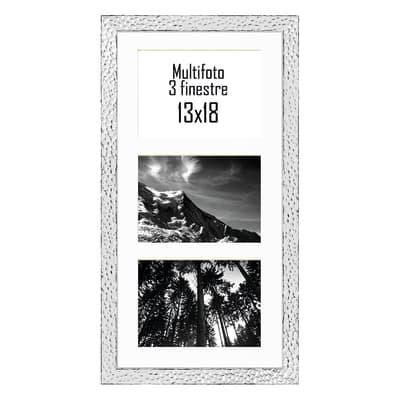 Cornice New York per 3 fotografie 13 x 18 argento<multisep/>bianco