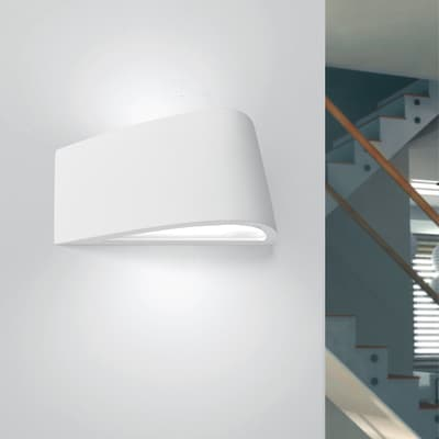 Applique design Delfi bianco, in gesso,  D. 35 cm 2 luci TECNICO