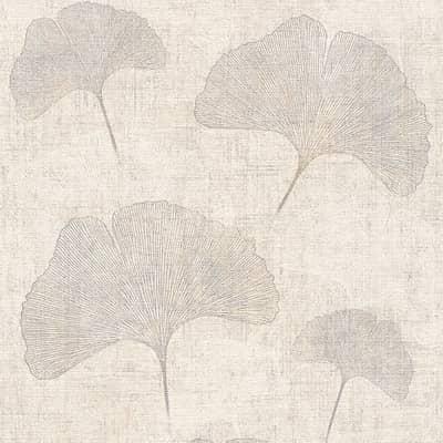 Carta da parati Fiore bianco e argento