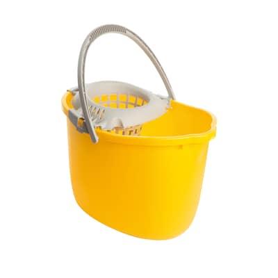 Secchio in plastica con strizzatore 15 L giallo