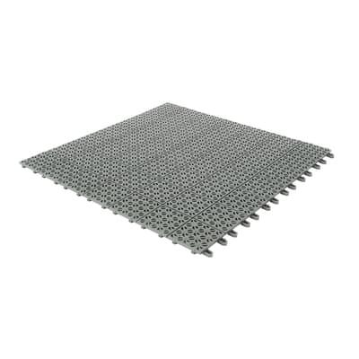 Piastrelle ad incastro Piastrella ad incastro plastica multipla 56 x 56 cm, Sp 11 mm colore grigio