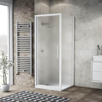 Box doccia battente 75 x , H 195 cm in vetro, spessore 6 mm spazzolato bianco