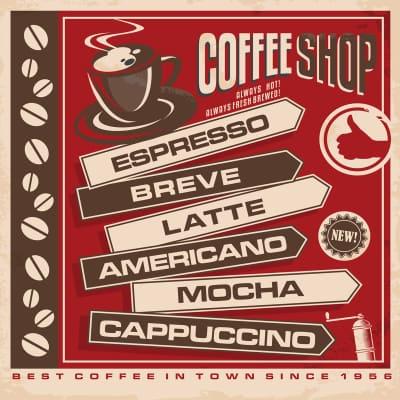 Quadro su tela Coffee Shop 30x30 cm