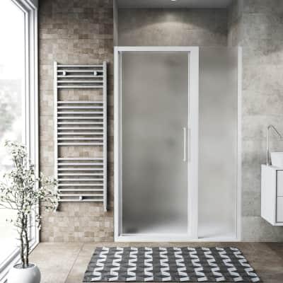 Box doccia battente 140 x , H 195 cm in vetro, spessore 6 mm spazzolato bianco