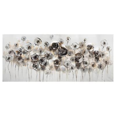 Quadro dipinto a mano Fiori Metallici 150x65 cm