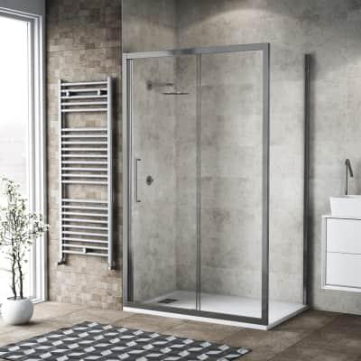 Box doccia scorrevole 105 x 80 cm, H 195 cm in vetro, spessore 6 mm trasparente argento