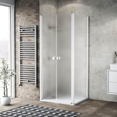 Porta doccia 130 x 80 cm, H 200 cm in vetro, spessore 6 mm spazzolato bianco
