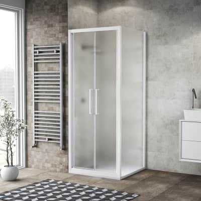 Porta doccia 90 x , H 195 cm in vetro, spessore 6 mm spazzolato bianco