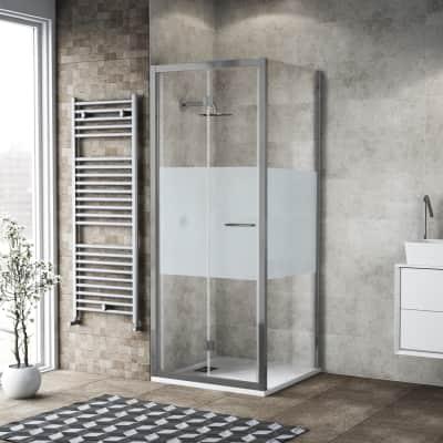 Box doccia pieghevole 95 x 80 cm, H 195 cm in vetro, spessore 6 mm serigrafato argento