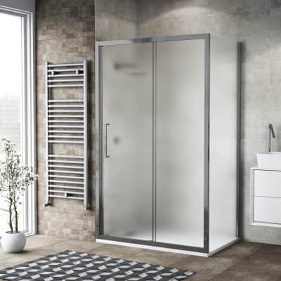 Box doccia scorrevole 145 x , H 195 cm in vetro, spessore 6 mm spazzolato argento