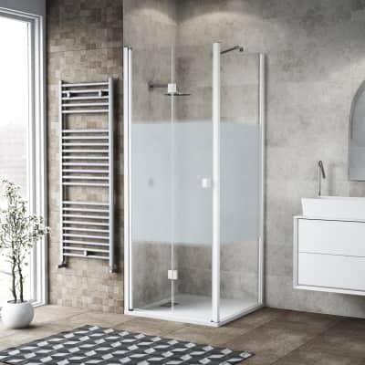 Box doccia pieghevole 85 x 80 cm, H 201.7 cm in vetro, spessore 6 mm serigrafato bianco
