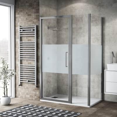 Box doccia battente 110 x 80 cm, H 195 cm in vetro, spessore 6 mm serigrafato argento
