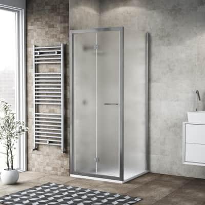 Box doccia pieghevole 100 x 80 cm, H 195 cm in vetro, spessore 6 mm spazzolato argento