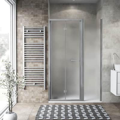 Box doccia pieghevole 140 x , H 195 cm in vetro, spessore 6 mm spazzolato argento