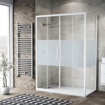 Box doccia scorrevole 180 x , H 195 cm in vetro, spessore 6 mm serigrafato bianco