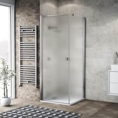 Box doccia battente 80 x 80 cm, H 200 cm in vetro, spessore 6 mm spazzolato cromato