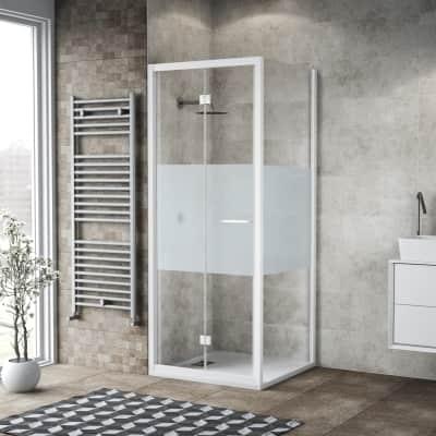 Box doccia pieghevole 95 x , H 195 cm in vetro, spessore 6 mm serigrafato bianco