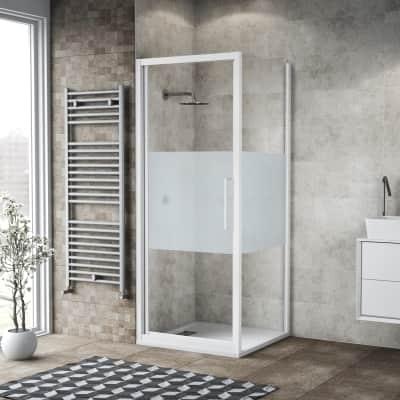 Box doccia battente 80 x , H 195 cm in vetro, spessore 6 mm serigrafato bianco