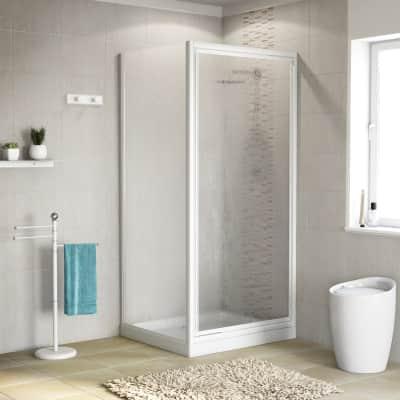 Porta doccia 70 x 80 cm, H 185 cm in acrilico, spessore 2 mm vetro acrilico piumato bianco