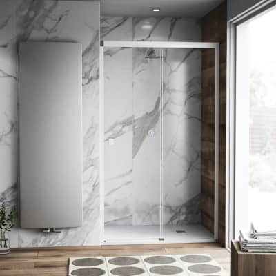 Porta doccia scorrevole Neo Plus 170 cm, H 200 cm in vetro temprato, spessore 8 mm trasparente bianco