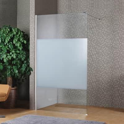 Doccia walk in L 120, H 200 cm, vetro 8 mm serigrafato cromato