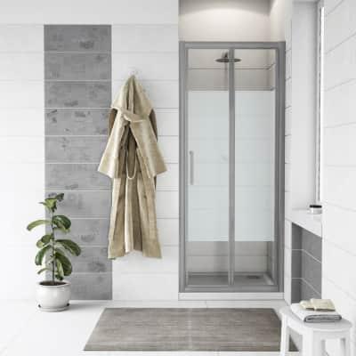 Porta doccia pieghevole Quad 90 cm, H 190 cm in vetro, spessore 6 mm serigrafato cromato