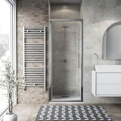 Porta doccia battente Record 97 cm, H 195 cm in vetro temprato, spessore 6 mm trasparente satinato