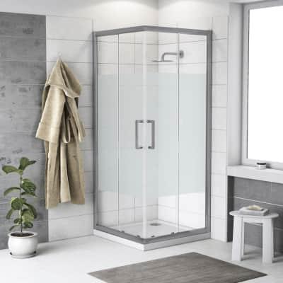 Box doccia quadrato scorrevole Quad 70 x 70 cm, H 190 cm in vetro temprato, spessore 6 mm serigrafato argento