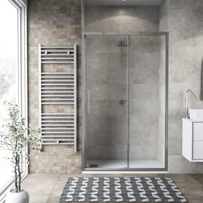 Porta doccia scorrevole Record 170 cm, H 195 cm in vetro temprato, spessore 6 mm trasparente satinato